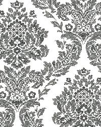 Rice Ink Meridian Damask Wallpaper by