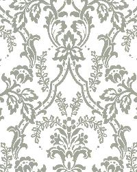 Andrea White Ornate Ogee Wallpaper by  Brewster Wallcovering
