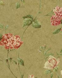 Glenmont Olive Floral Trail Wallpaper by  Brewster Wallcovering