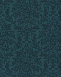 Morgan Blue Busy Damask Wallpaper by  Brewster Wallcovering