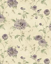 Priscilla Purple Peony Floral Trail Wallpaper by