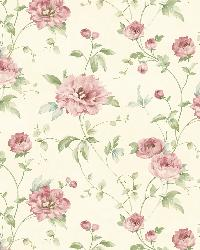Priscilla Pink Peony Floral Trail Wallpaper by