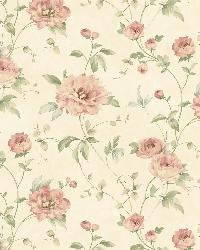 Priscilla Red Peony Floral Trail Wallpaper by