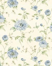 Priscilla Blue Peony Floral Trail Wallpaper by