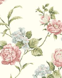 Gleason White Floral Rose Trail Wallpaper by
