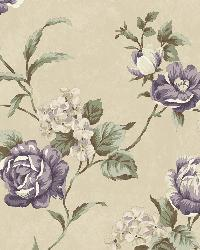 Gleason Grey Floral Rose Trail Wallpaper by