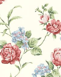 Gleason Red Floral Rose Trail Wallpaper by  Brewster Wallcovering