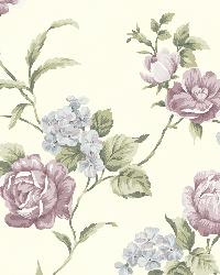 Gleason Purple Floral Rose Trail Wallpaper by
