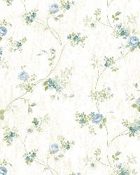 Virginia Blue Floral Vine Wallpaper by
