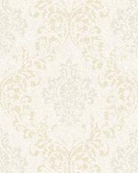Golden Ice Damask Wallpaper by