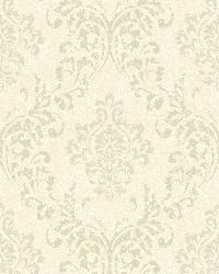 Golden Beige Damask Wallpaper by