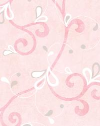 Jada Pink Girly Floral Scroll Wallpaper by