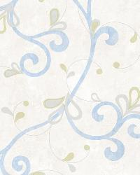 Jada Light Blue Girly Floral Scroll Wallpaper by