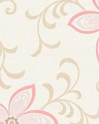 Khloe Green Girly Floral Scroll Wallpaper by