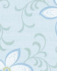 Khloe Light Blue Girly Floral Scroll Wallpaper by