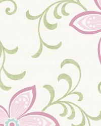 Khloe Pink Girly Floral Scroll Wallpaper by