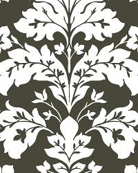 Camila Black Modern Damask Wallpaper by