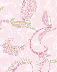 Riley Pink Paisley Scroll Wallpaper by
