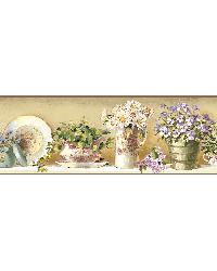 Brown GardenerS Teaset Border by  Brewster Wallcovering