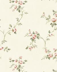 White Country Rose Vine by  Brewster Wallcovering