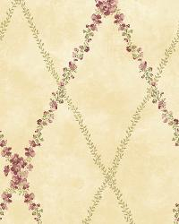 Beige Peony Trellis by  Brewster Wallcovering