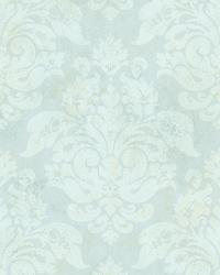 Blue Peony Damask by  Brewster Wallcovering