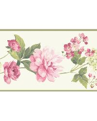 White Peony Border by  Brewster Wallcovering