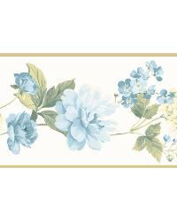 Blue Peony Border by  Brewster Wallcovering