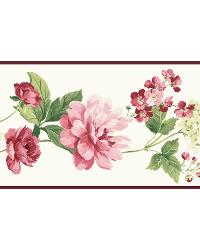 Red Peony Border by  Brewster Wallcovering