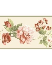 Green Peony Border by  Brewster Wallcovering