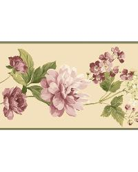 Neutral Peony Border by  Brewster Wallcovering