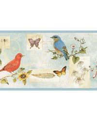 Blue Songbird Collage Border by  Brewster Wallcovering