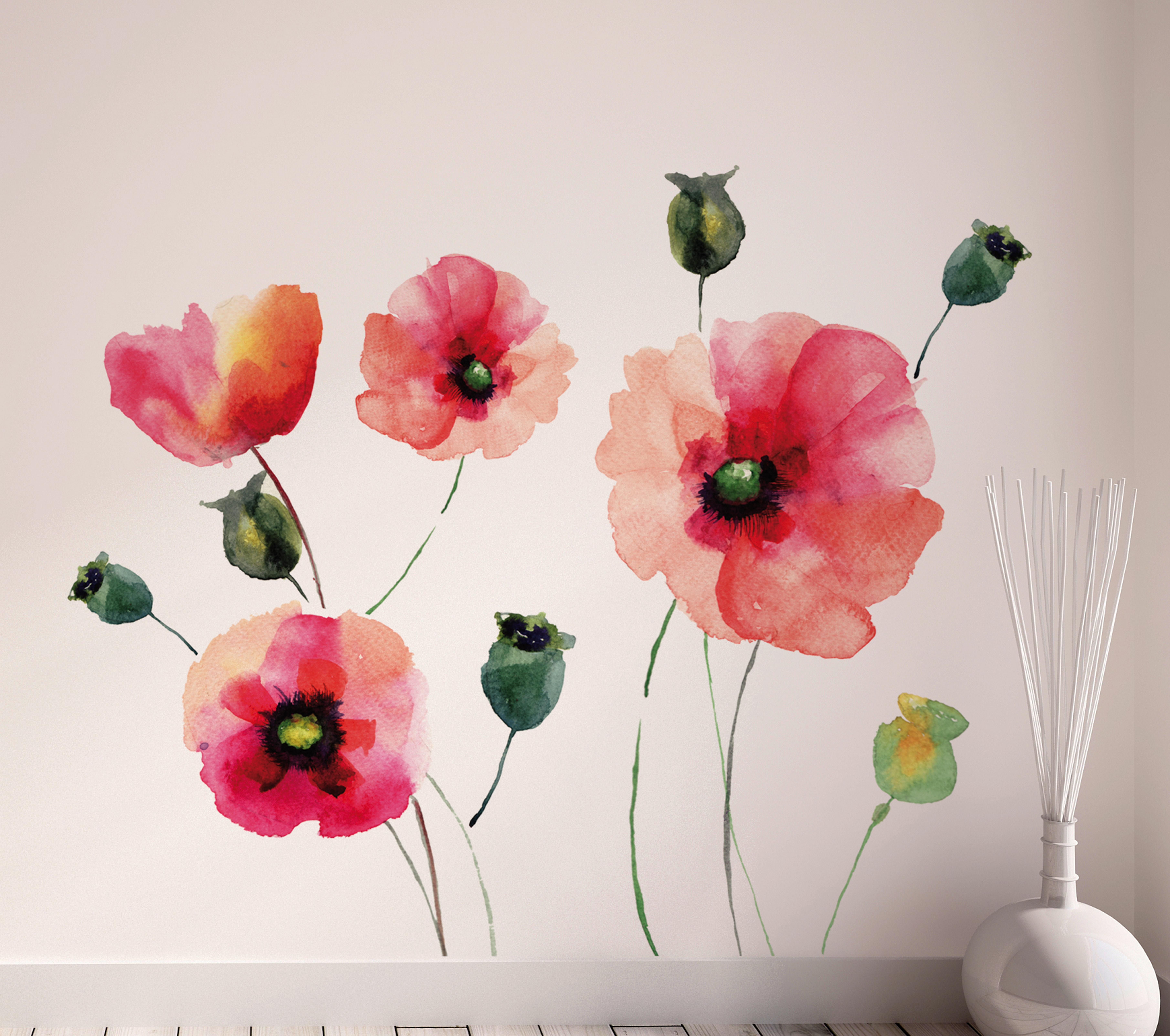 brewster wallpaper watercolor poppies wall decals