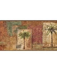 Red Tropical Palm Trees Border by