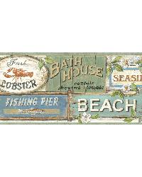 Sage Seaside Beach Signs Border by