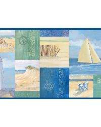 Blue Coastal Breeze Collage Border by