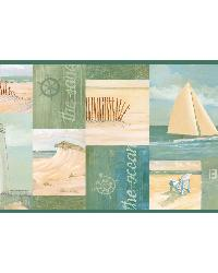 Green Coastal Breeze Collage Border by