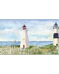 Blue Coastal Lighthouse Border by