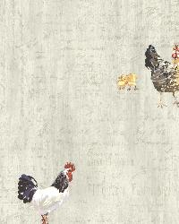 Lisle Grey Roosters  Script by  Brewster Wallcovering