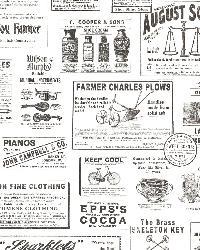 Adamstown Ivory Vintage Newspaper by
