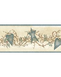 Paxton Blue Tin Hearts  Stars Border by