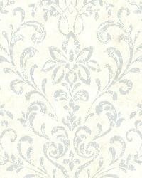 Presley Blue Country Damask by  Brewster Wallcovering
