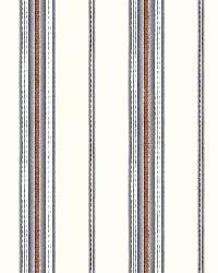 Cabin Blue Stripe by  Brewster Wallcovering