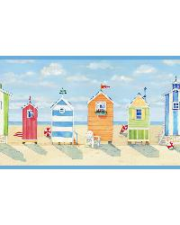 Brighton Blue Beach Cottage Border by  Brewster Wallcovering