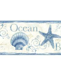 Island Bay Blue Seashells Border by