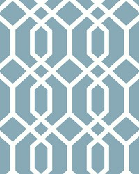Trellis Blue Montauk Wallpaper by