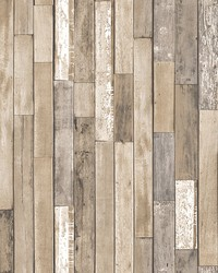 Barn Board Brown Thin Plank Wallpaper by