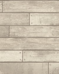 Weathered Grey Nailhead Plank Wallpaper by
