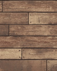 Weathered Brown Nailhead Plank Wallpaper by