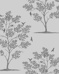 Woodland Grey Trees  Birds Wallpaper by